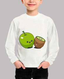 kawaii apple kiwi t-shirt for kids