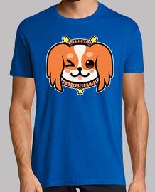 kawaii charles spaniel dog face - chemise pour homme