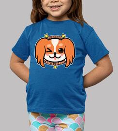 KAWAII Charles Spaniel Dog Face - Kids shirt
