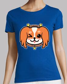 kawaii charles spaniel face de chien - chemise femme