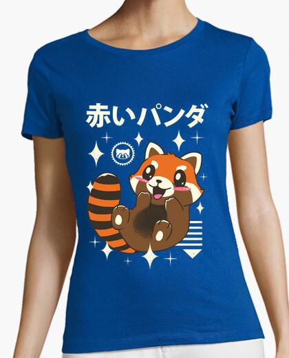 Tee-shirt kawaii chemise rouge panda femme