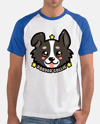 KAWAII Chibi Border Collie Dog Face - Mens Baseball