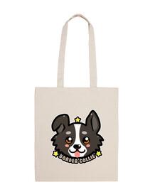 kawaii chibi border collie dog face - sac fourre-tout