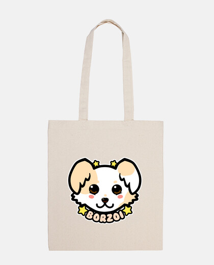 KAWAII Chibi Borzoi Dog Face - Tote Bag