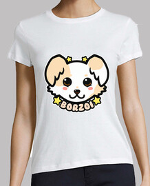 KAWAII Chibi Borzoi Dog Face - Womans Shirt