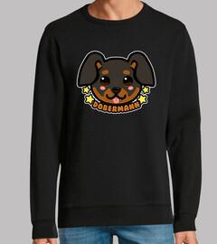 kawaii chibi dobermann dog face