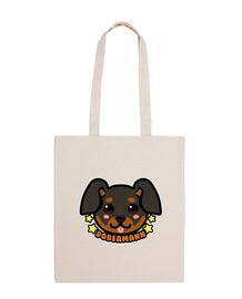 kawaii chibi dobermann dog face - tote bag