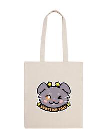 kawaii chibi écossais visage de chat - sac fourre-tout