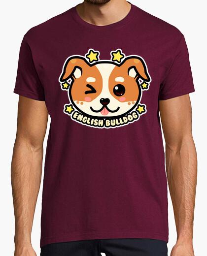 Camiseta kawaii chibi english bulldog face - camisa para hombre