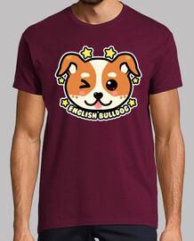 kawaii chibi english bulldog face - camisa para hombre