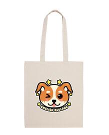 kawaii chibi english bulldog face - tote bag