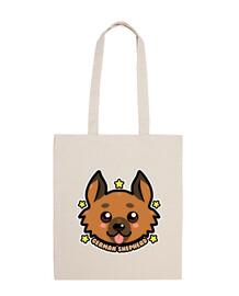 kawaii chibi german shepherd dog face - tote bag