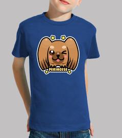 kawaii chibi pekingese dog face - chemise pour enfants