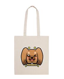kawaii chibi pekingese dog face - tote bag
