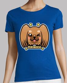 kawaii chibi pekingese face de chien - chemise femme