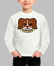 KAWAII Chibi Pointer Dog Face - Kids Long Sleeve