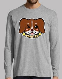 kawaii chibi pointer dog face - mens long sleeve