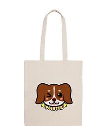 kawaii chibi pointer dog face - tote bag