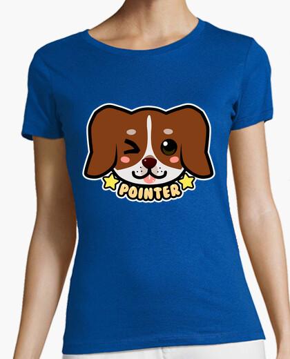 Tee-shirt kawaii chibi pointeur face de chien - chemise femme