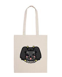 kawaii chibi poodle dog face - tote bag