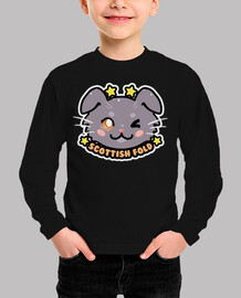 kawaii chibi scottish fold cat face - kids shirt