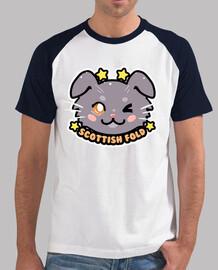 kawaii chibi scottish fold cat face - mens baseball