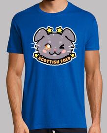 kawaii chibi scottish fold cat face - mens shirt
