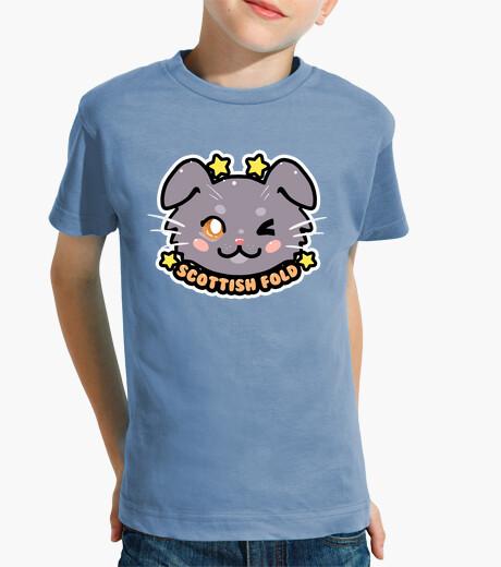 Abbigliamento bambino kawaii chibi scozzese piega faccia gatto - camicia per bambini