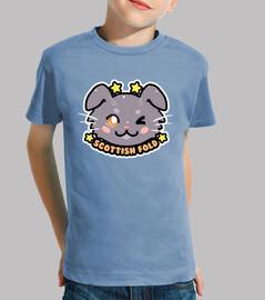 kawaii chibi scozzese piega faccia gatto - camicia per bambini