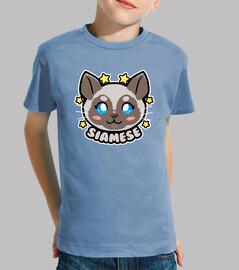 KAWAII Chibi Siamese Cat Face - Kids Shirt