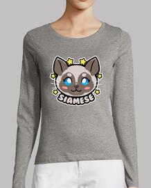 KAWAII Chibi Siamese Cat Face - Womans Long Sleeve