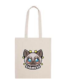 kawaii chibi visage de chat siamois - sac fourre-tout