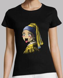 kawaii con una camicia con orecchino di perle da donna