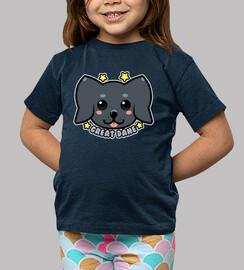kawaii great dane dog face - chemise enfant