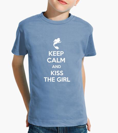 Ropa infantil Keep cal and kiss the girl - Niño azul