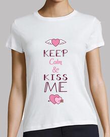 keep calm - femme, manche courte, blanc, qualité supérieure