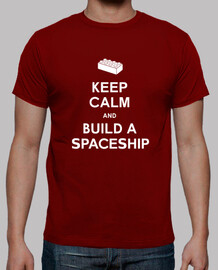 keep calm and construire une  tee shirt  mens vaisseau spatial