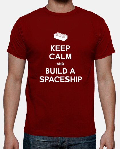 keep calm and construire une  tee shirt  mens vaisseau spatial