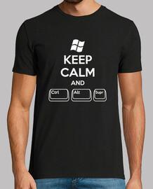 Keep Calm and Ctrl Alt Supr (chico, negra)
