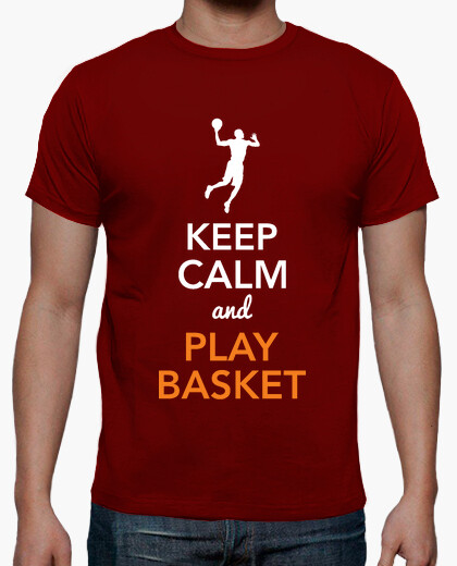 T-shirt keep calm and giocare a basket (uomo)