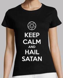 Keep calm and hail Satan V.1 (blanco)