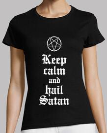 Keep Calm and Hail Satan V.2 (blanc)