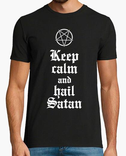 Camiseta Keep calm and hail Satan V.2 (blanco)