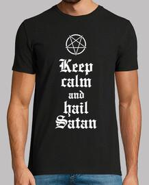 Keep calm and hail Satan V.2 (blanco)