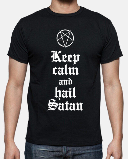 Keep calm and hail Satan V.2 (blanco)