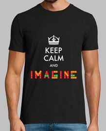 Keep Calm And Imagine | Hombre, manga corta, negra, calidad extra