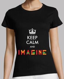 Keep Calm And Imagine | Mujer, manga corta, negra, calidad premium