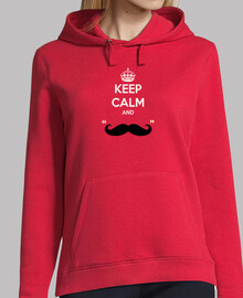 Keep Calm and Moustache - Sudadera chica