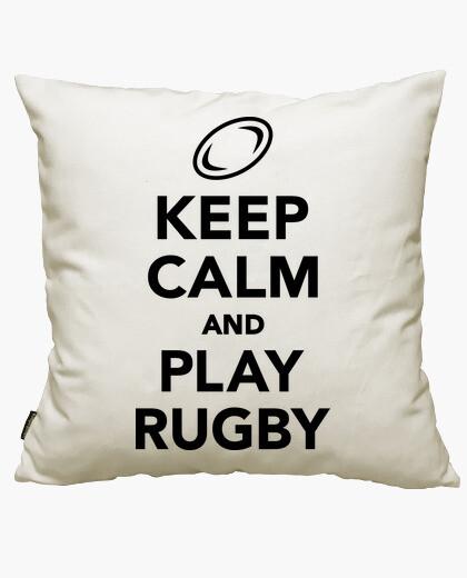 Funda cojín Keep calm and play Rugby