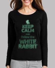 keep calm bianco rabbit (manica lunga ragazza)
